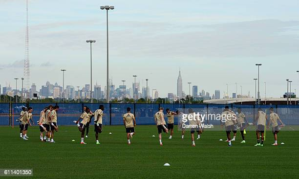 Chelsea players during a training session with Manhattan behind them at the Timex Performance Center on 21th July 2012 in New York USA