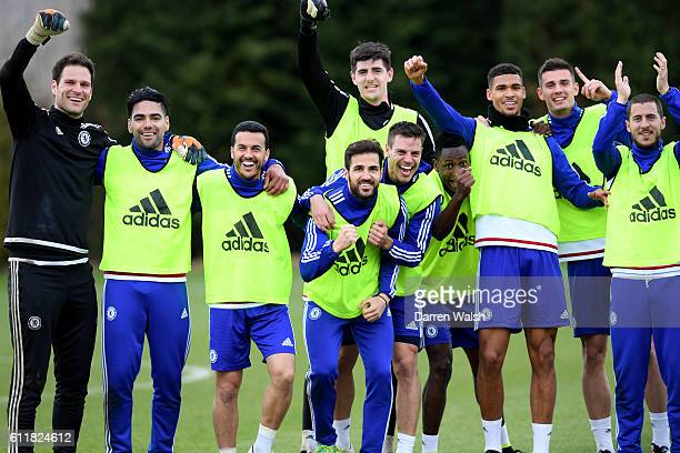 Chelsea players during training