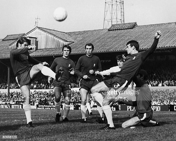 Chelsea players foil an attack by Colin Sugget of West Bromwich Albion during a match at Stamford Bridge London 18th October 1969 Chelsea's Charlie...