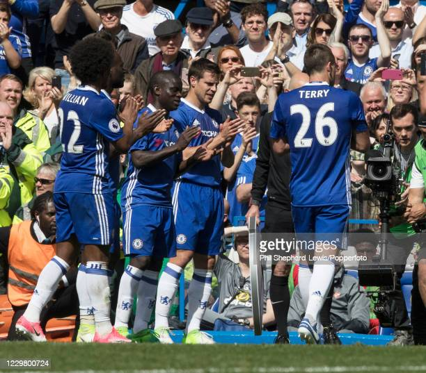 Chelsea players form a guard of honour for John Terry during the Premier League match between Chelsea and Sunderland at Stamford Bridge on May 21,...