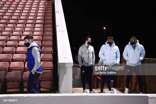 Chelsea players including Ben Chilwell and Reece James make their way out to inspect the pitch prior to The Emirates FA Cup Fifth Round match between...