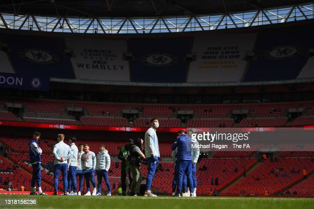 Chelsea players inspect the pitch prior to The Emirates FA Cup Final match between Chelsea and Leicester City at Wembley Stadium on May 15, 2021 in...