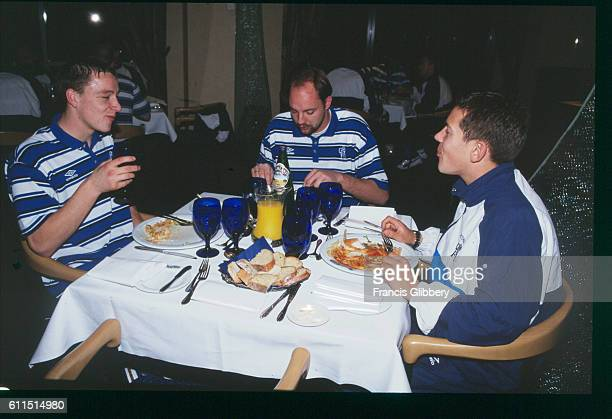 Chelsea players John Terry Ed de Goey and Jon Harley at their prematch meal