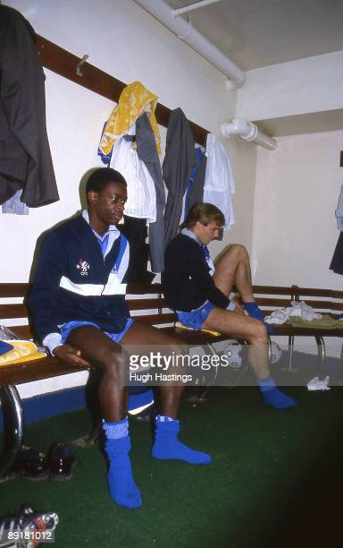 Chelsea players Keith Jones and Kerry Dixon stretch in the home team dressing room prekickoff prior to the Canon League Division One match held in...