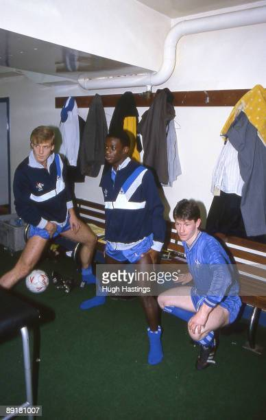 Chelsea players Kerry Dixon Keith Jones and Kevin McAllister stretch in the home team dressing room prekickoff prior to the Canon League Division One...