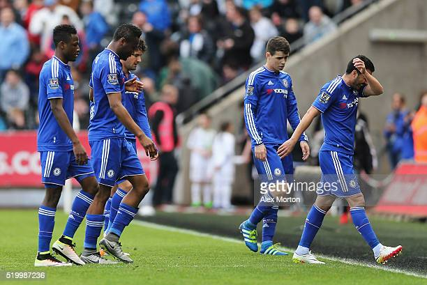 Chelsea players leave the pitch at the half time during the Barclays Premier League match between Swansea City and Chelsea at the Liberty Stadium on...