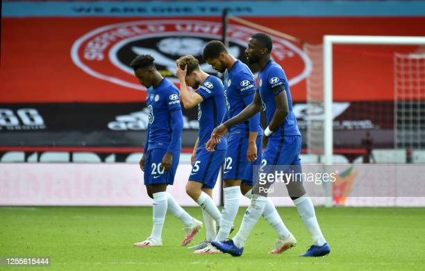 Chelsea players leave the pitch following the Premier League match between Sheffield United and Chelsea FC at Bramall Lane on July 11, 2020 in...