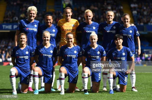 Chelsea players line up prior to the Barclays FA Women's Super League match between Chelsea and Tottenham Hotspur at Stamford Bridge on September 08...