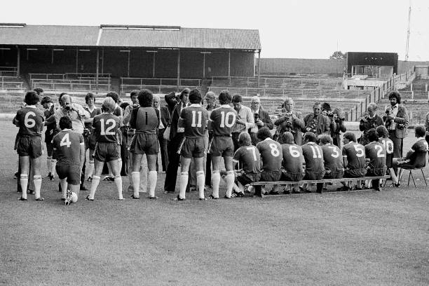 Chelsea players line-up for the team group to be shot in pre-season during the Press Day held in July 1980 at Stamford Bridge in London.