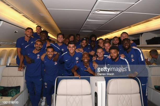 Chelsea players pose for a photo before a flight to Perth at Gatwick Airport on July 18 2018 in Gatwick England
