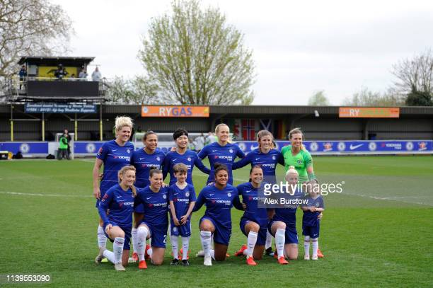 Chelsea players pose for a photo prior to the FA Women's Super League match between Chelsea Women and West Ham United Women at Kingsmeadow on March...