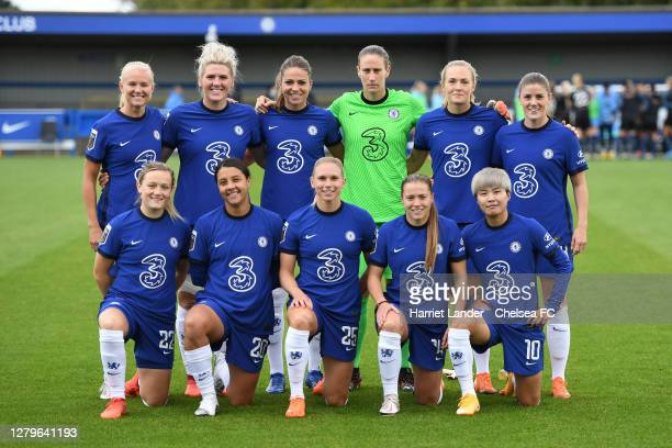Chelsea players pose for a team photo prior to the Barclays FA Women's Super League match between Chelsea Women and Manchester City Women at...