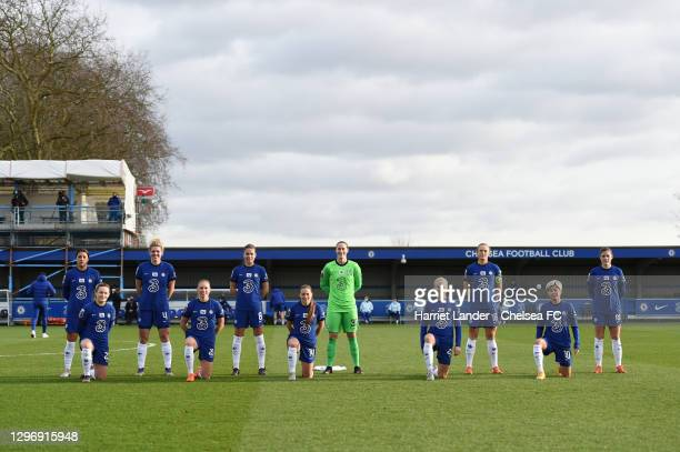 Chelsea players pose for a team photo prior to the Barclays FA Women's Super League match between Chelsea Women and Manchester United Women at...