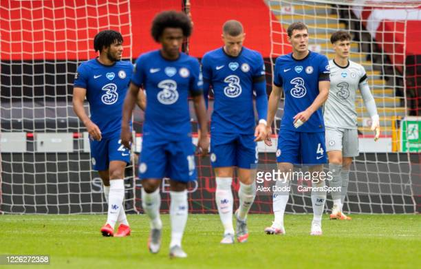 Chelsea players react to going 10 down during the Premier League match between Sheffield United and Chelsea FC at Bramall Lane on July 11 2020 in...