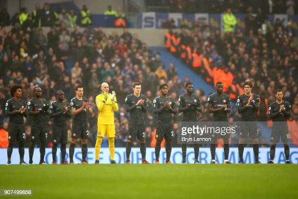Chelsea players remember exfootballer Cyrille Regis who passed away earlier this week prior to the Premier League match between Brighton and Hove...