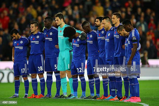 Chelsea players remember fallen members of the armed forces ahead of Remembrance Day prior to the Barclays Premier League match between Stoke City...
