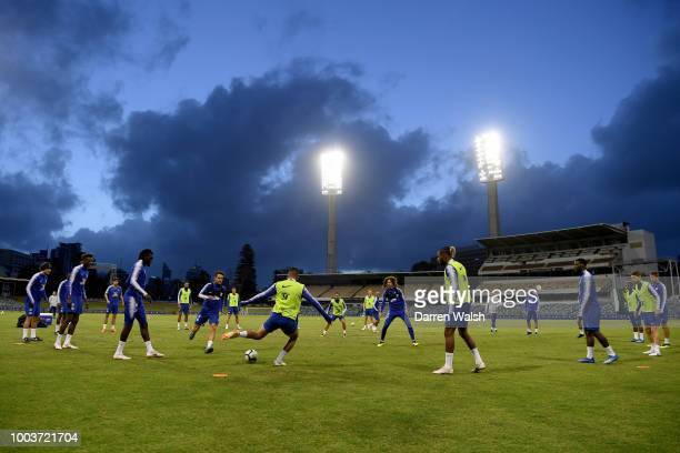 Chelsea players train under the floodlights during a training session at the WACA on July 22 2018 in Perth Australia