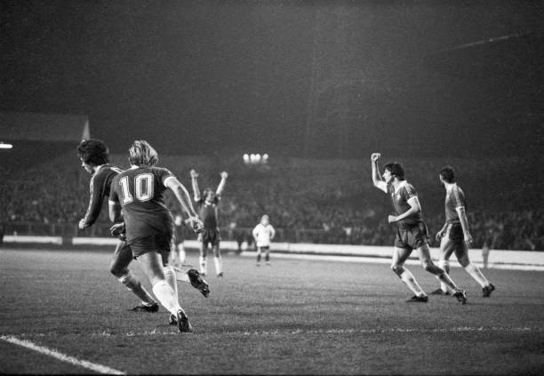 Chelsea players turn away after Colin Lee scores during the Football League Division Two match between Chelsea and Derby County at Stamford Bridge,...