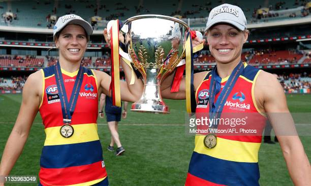 Chelsea Randall and Erin Phillips of the Crows celebrate during the 2019 AFLW Grand Final match between the Adelaide Crows and the Carlton Blues at...