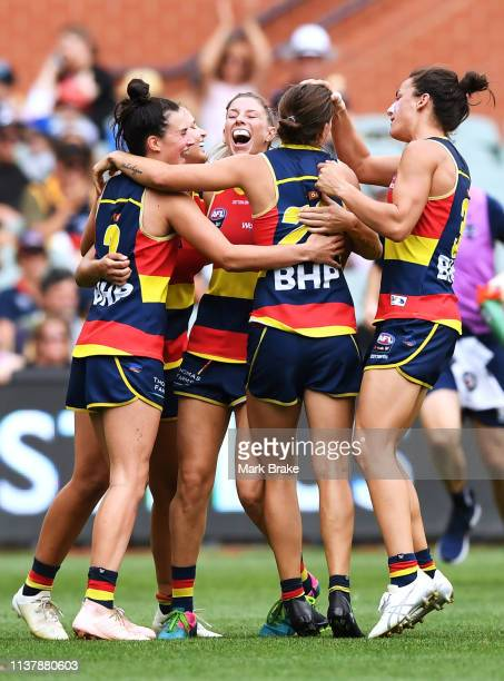 Chelsea Randall of the Adelaide Crows celebrates a goal during the AFLW Preliminary Final match between the Adelaide Crows and thew Geelong Cats at...