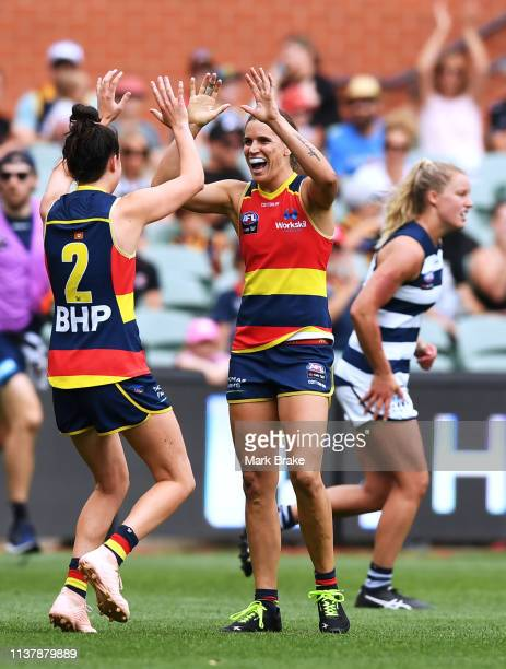 Chelsea Randall of the Adelaide Crows celebrates a goal with Eloise Jones of the Adelaide Crows during the AFLW Preliminary Final match between the...