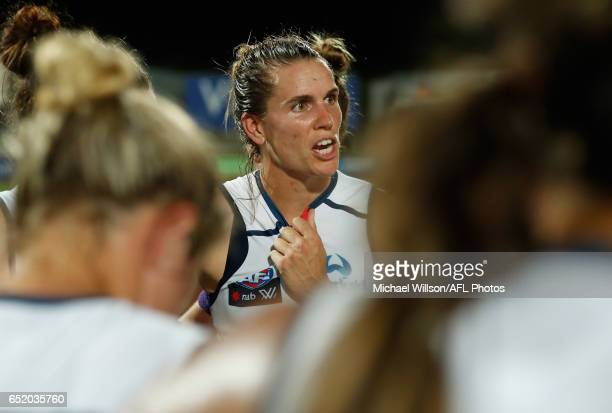 Chelsea Randall of the Crows speaks with her players after a loss during the 2017 AFLW Round 06 match between the Adelaide Crows and the Melbourne...