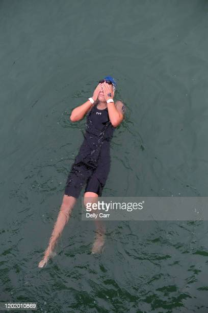 Chelsea Schwalger of Australia relaxes after the 5km race during the 2020 Australian Open Water Swimming Championships at Brighton Beach on January...