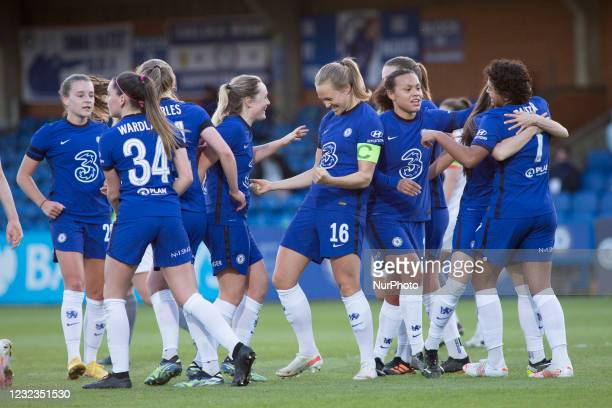 Chelsea squad celebrates after scoring during the 2020-21 FA Womens Cup fixture between Chelsea FC and London City at Kingsmeadow on April 16, 2021...