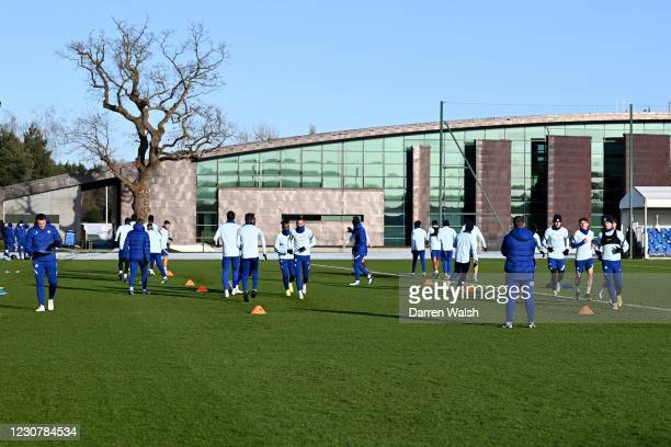 Chelsea squad during a training session at Chelsea Training Ground on January 25, 2021 in Cobham, England.