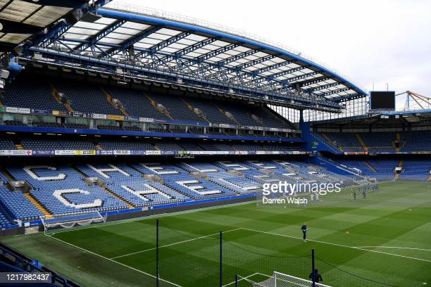 Chelsea squad during a training session at Stamford Bridge on June 6, 2020 in London, England.