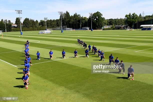 Chelsea squad took the knee during a training session at Cobham in the formation of H for 'human' at Chelsea Training Ground on June 2, 2020 in...