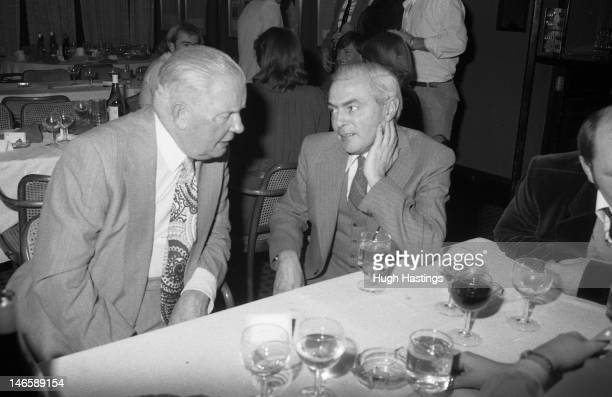 Chelsea Steward Sid Jenkins and Programme Editor Albert Sewell during the Chelsea Staff Christmas Party held in December 1979 at Stamford Bridge in...