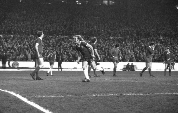 Chelsea striker Clive Walker celebrates his second goal during the FA Cup Third Round match between Chelsea and Liverpool held on January 7, 1978 at...