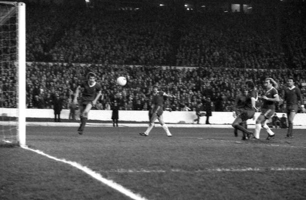 Chelsea striker Clive Walker scores his second goal during the FA Cup Third Round match between Chelsea and Liverpool held on January 7, 1978 at...