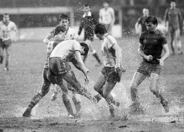 Chelsea striker Kerry Dixon and team-mate Nigel Spackman causing problems for the Norwich City defence during the Canon League Division One match...