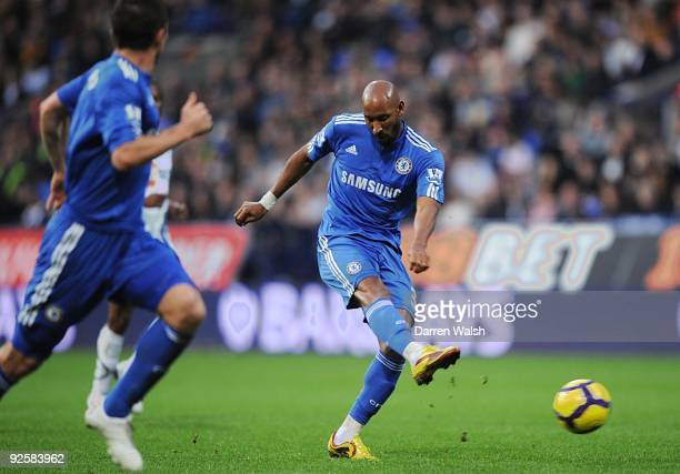 Chelsea striker Nicolas Anelka shoots for goal during the Barclays Premier League match between Bolton and Chelsea at the Reebok Stadium on October...