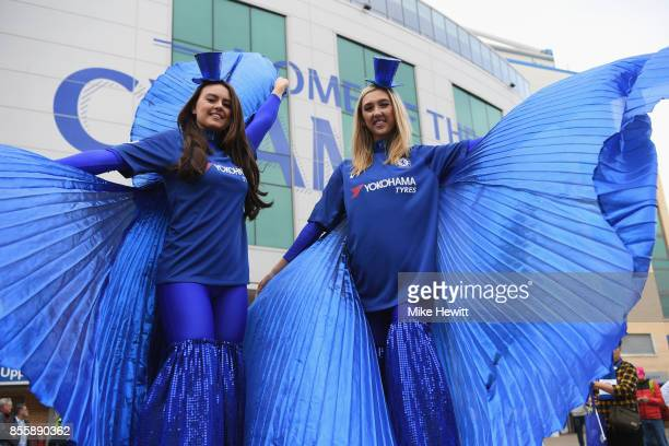 Chelsea supporters are seen prior to the Premier League match between Chelsea and Manchester City at Stamford Bridge on September 30 2017 in London...