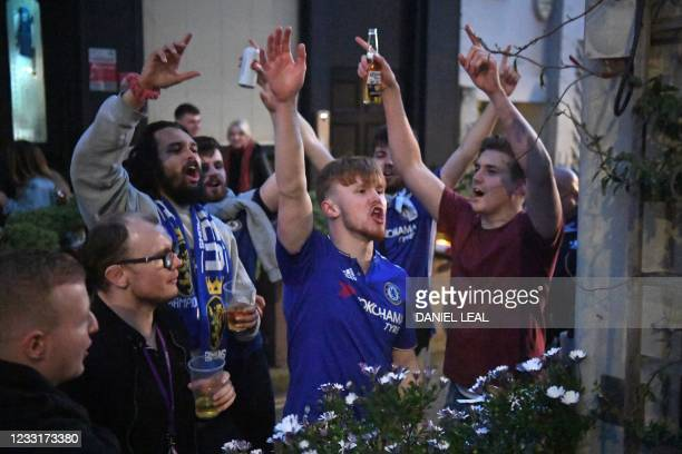 Chelsea supporters cheer on their team in the streets around Stamford Bridge, as Chelsea take on Manchester City in the UEFA Champions League final...