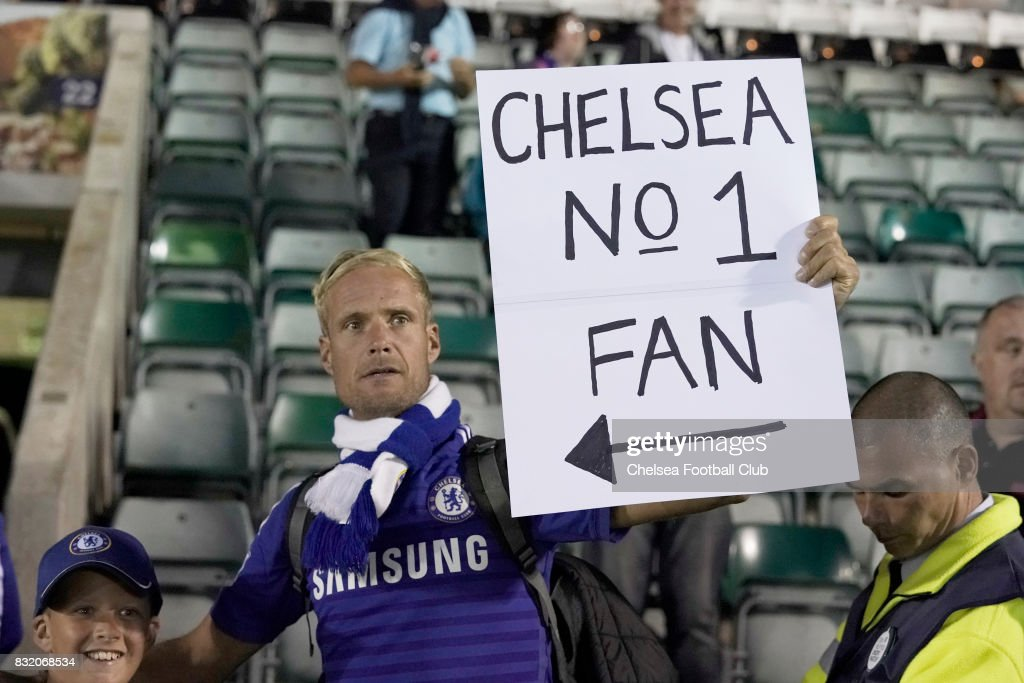 Chelsea supporters during the Checkatrade Trophy match at Home Park on August 15, 2017 in Plymouth, England.