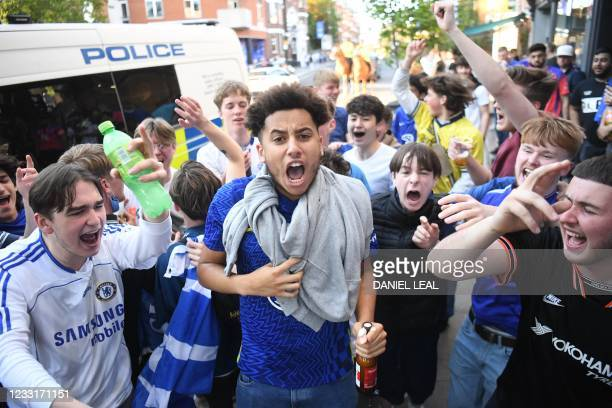 Chelsea supporters gather in the streets around Stamford Bridge stadium in the build-up to the UEFA Champions League final football match between...