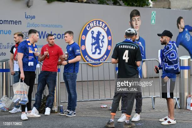 Chelsea supporters gather near Stamford Bridge stadium in the build-up to the UEFA Champions League final football match between Manchester City and...