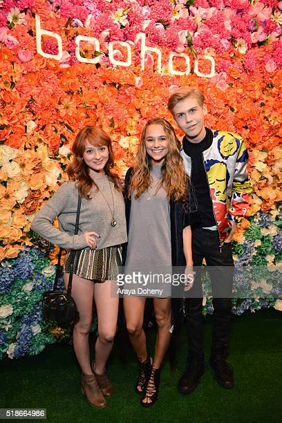 Chelsea Talmadge Madison Iseman and Aidan Alexander attend the boohoocom Flagship LA Pop Up Store with opening party fueled by CIROC UltraPremium...