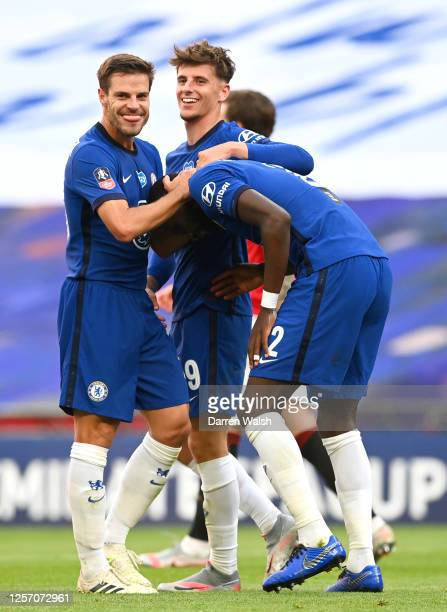 Chelsea team celebrate after Harry Maguire of Manchester United scores a own goal to give Chelsea their 3rd goal during the FA Cup Semi Final match...