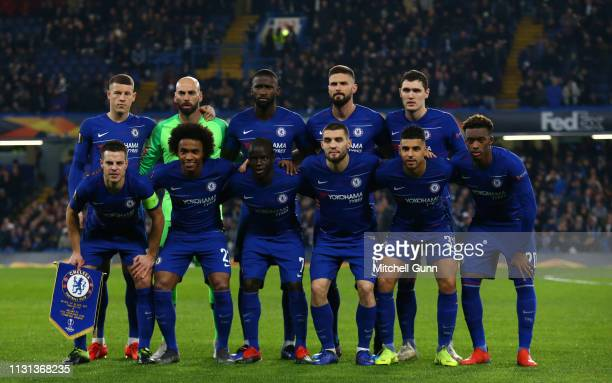 Chelsea team during the Europa League Round of 32, second leg match between Chelsea and Malmo FF at Stamford Bridge on February 21 2019 in London,...