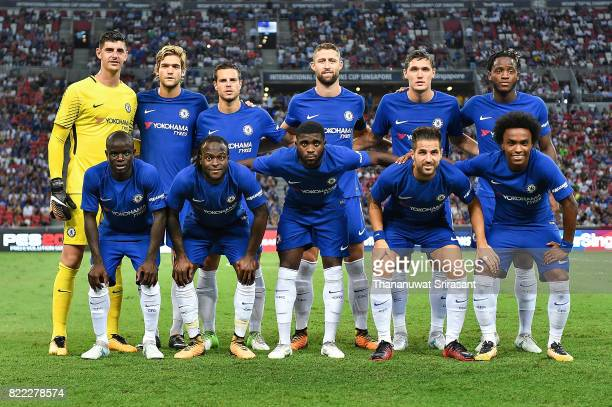 Chelsea team eleven lineup poses during the International Champions Cup match between Chelsea FC and FC Bayern Munich at National Stadium on July 25...