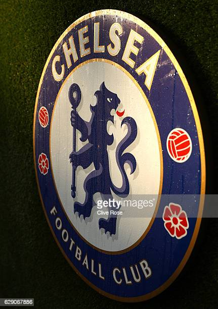 Chelsea team emblem is seen prior to the Premier League match between Chelsea and West Bromwich Albion at Stamford Bridge on December 11 2016 in...