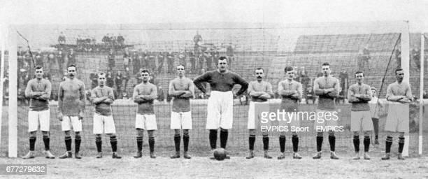Chelsea team group in the goal at Stamford Bridge. Left to right; James Watson, Bobby McRoberts, George Key, Jimmy Windridge, Mackie, goalkeeper...