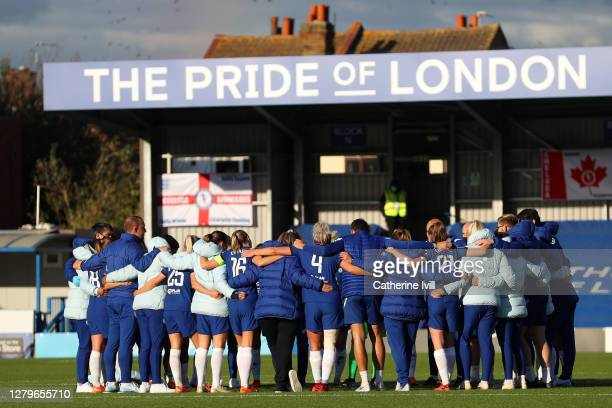 Chelsea team huddle after the Barclays FA Women's Super League match between Chelsea Women and Manchester City Women at Kingsmeadow on October 11...
