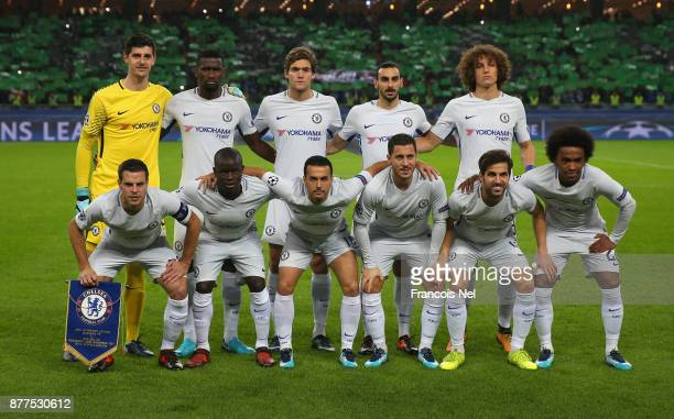 Chelsea team line up for a photo prior to the UEFA Champions League group C match between Qarabag FK and Chelsea FC at Baki Olimpiya Stadionu on...