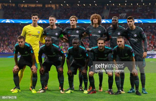 Chelsea team line up prior to the UEFA Champions League group C match between Atletico Madrid and Chelsea FC at Estadio Wanda Metropolitano on...